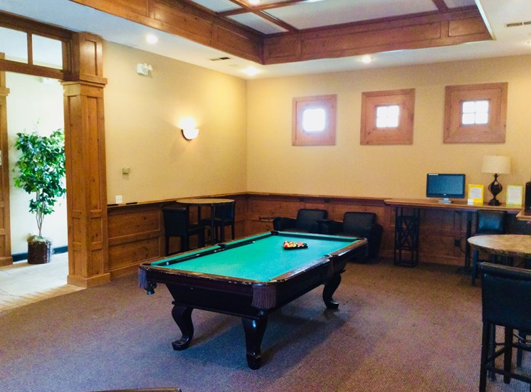 Billiard Room at Lodge at Mallard Creek Apartments, North Carolina