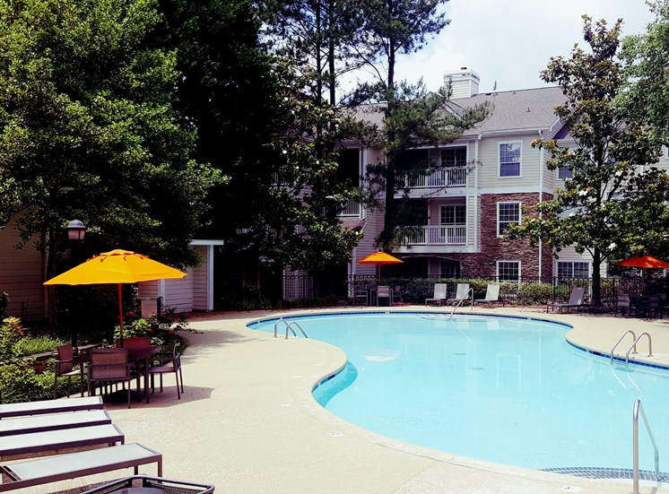 Pool Side Relaxing Area at Lodge at Mallard Creek Apartments, Charlotte, North Carolina
