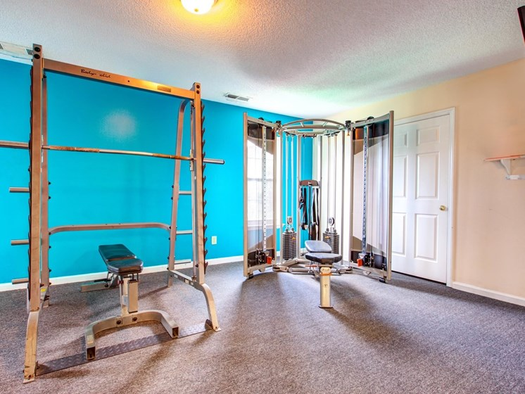 Fitness Center with Free Weights at Quad Apartments, Wilmington, North Carolina