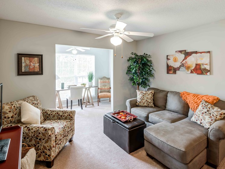 Spacious Living Room With Private Balcony at Woodland Crossing Apartments, New Bern
