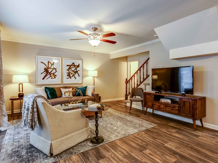 Designer Ceiling Fans And Wooden Flooring at Smoky Crossing Apartments, Seymour, TN, 37865