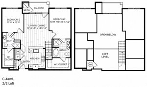 2 Bed, 2 Bath, Loft - C4amL