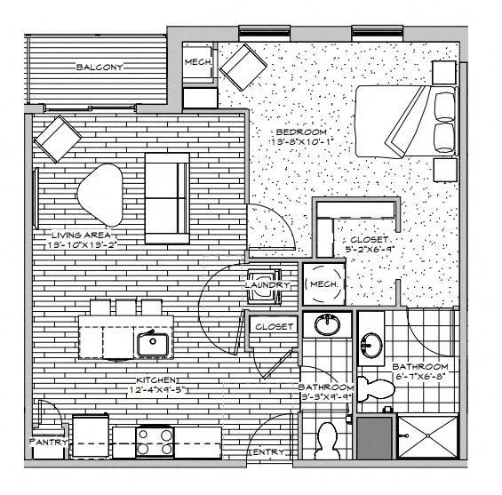 1 Bedroom 1.5 Bathrooms Floor Plan 4