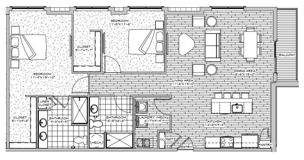 2 Bedroom 2 Bath Penthouse Floor Plan 6