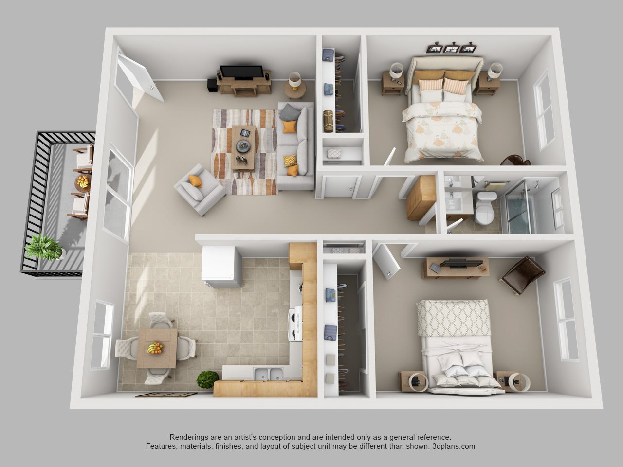 2 bed, 1 bath Floor Plan 3