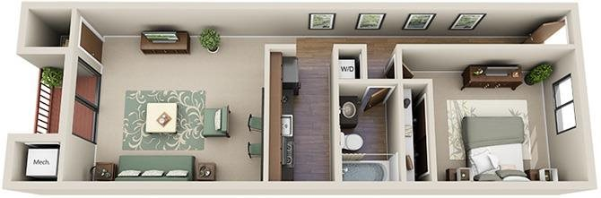 1x1 Floor Plan 2