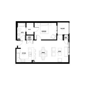 1 Bedroom Floor Plan A