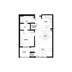 1 Bedroom Floor Plan C