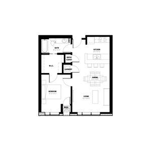 1 Bedroom Floor Plan D