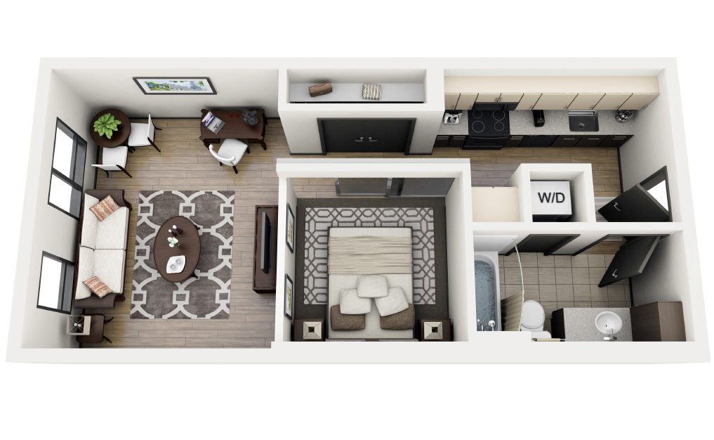 1x1 Open C Floor Plan 2