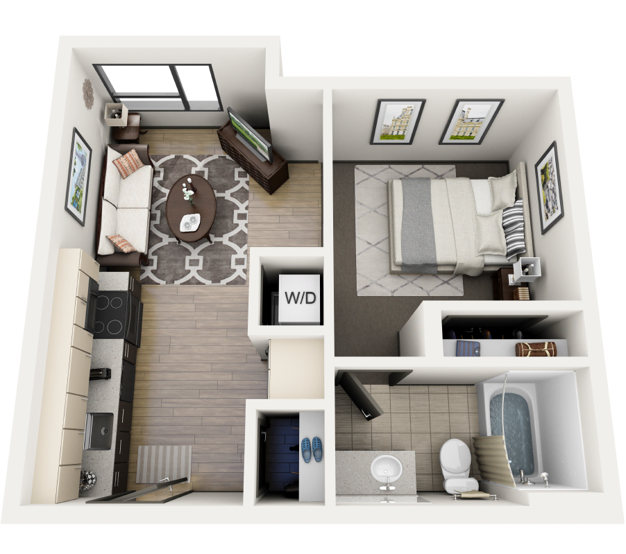 1x1 Open D Floor Plan 3