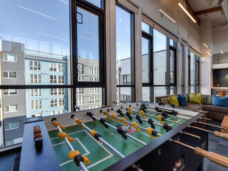 Luxury Apartment Community Clubhouse Foosball Table and View