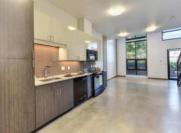 Luxury Apartment Community Open Kitchen with View of Entryway
