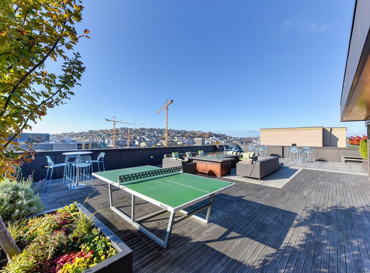 Luxury Apartment Community Rooftop Ping Pong Table and Lounge Area