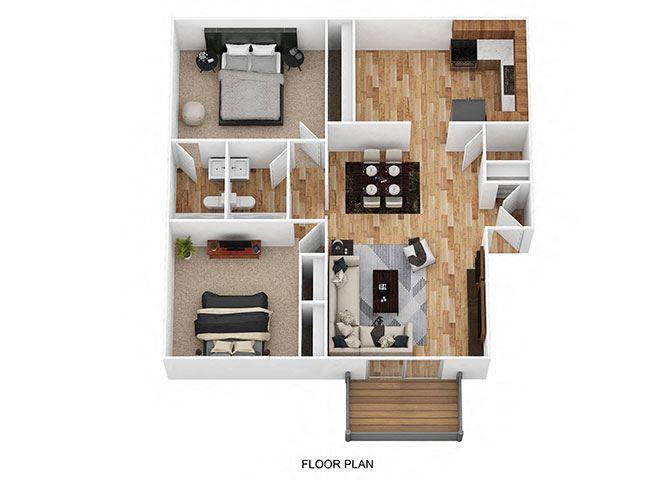 2 Bedroom / 2 Bath Floor Plan at Heritage Hill Estates Apartments, Ohio, 45227