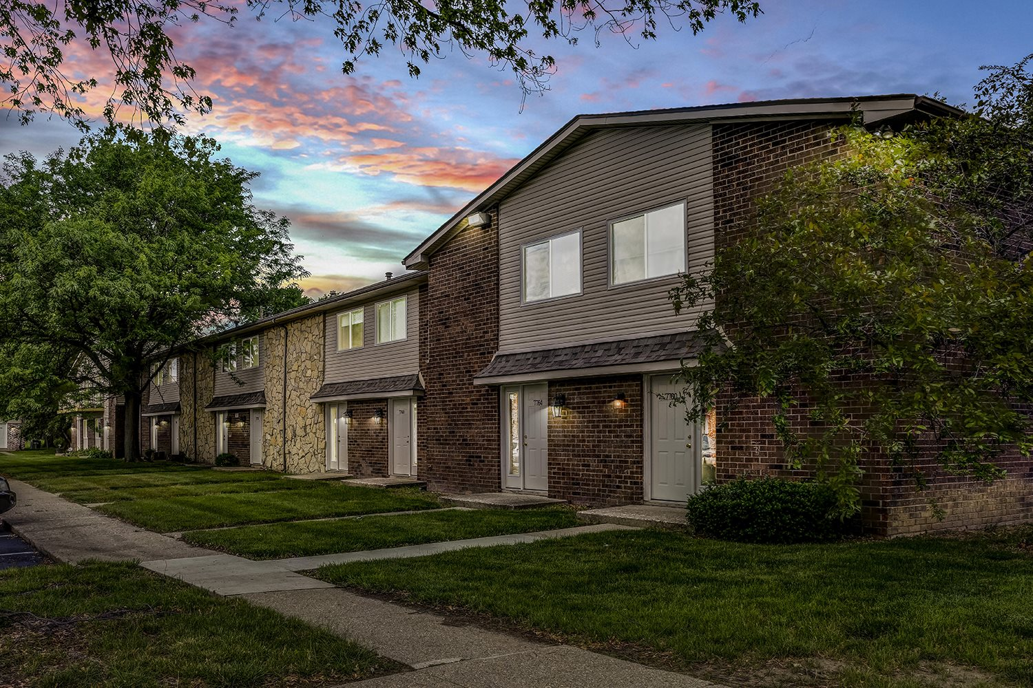 Beautiful Night View at Westpark Townhomes, Indiana