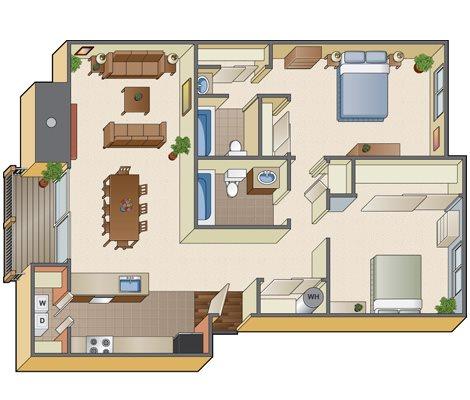 2 x 2 Floorplan at Mosaic Hills, Kent, Washington