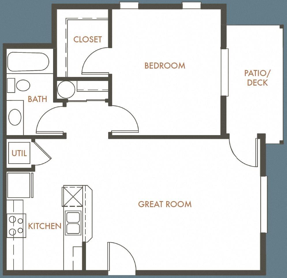 1B 1B Plan D Floor Plan 4