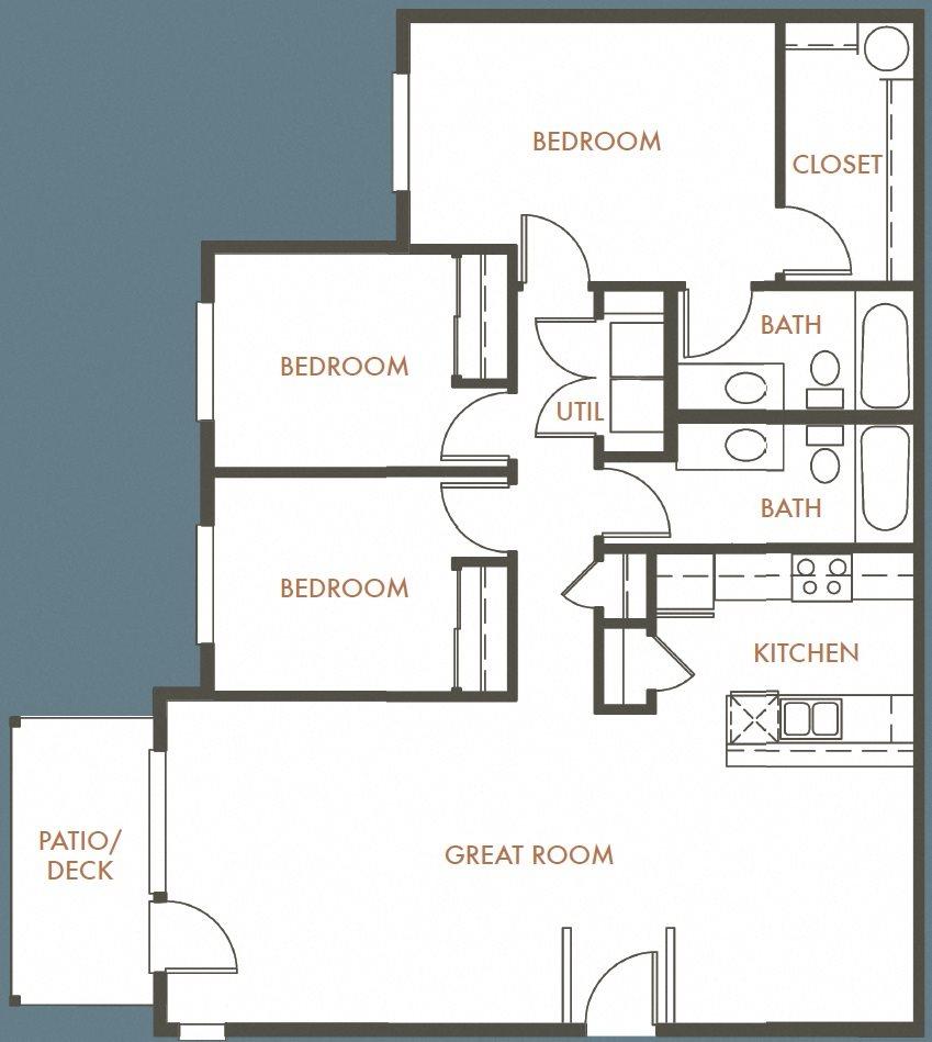 3B 2B Plan A Floor Plan 12