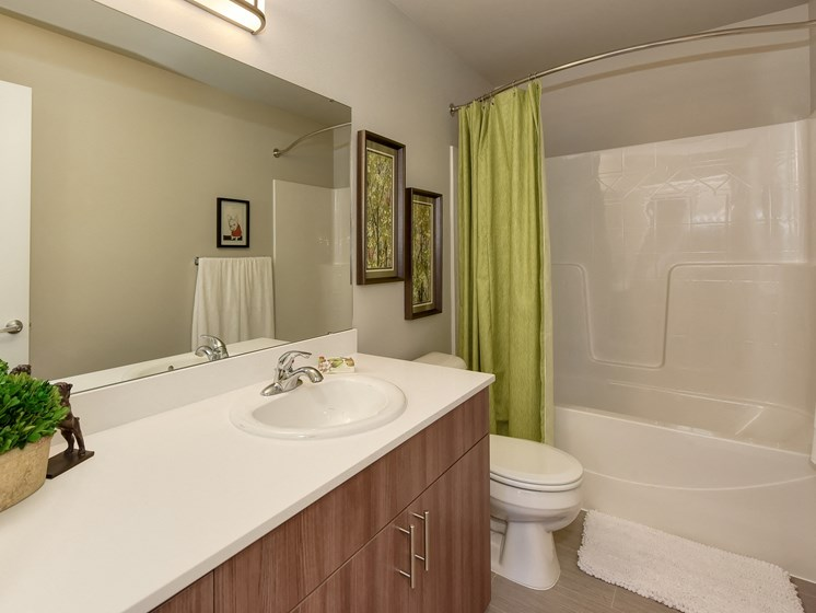 Bathroom with Cabinets, Wood Inspired Floors, Toilet and Lime Green Shower Curtain