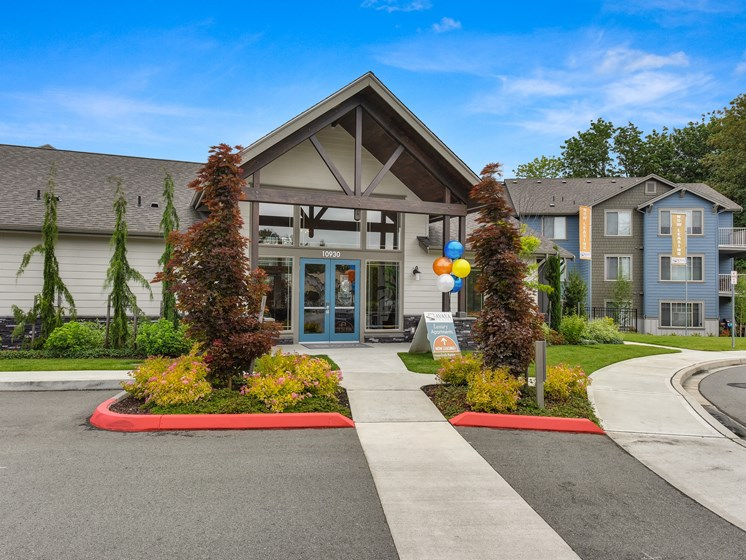 Leasing Office Entrance with Paved Path, Trees, Building Front Entrance,