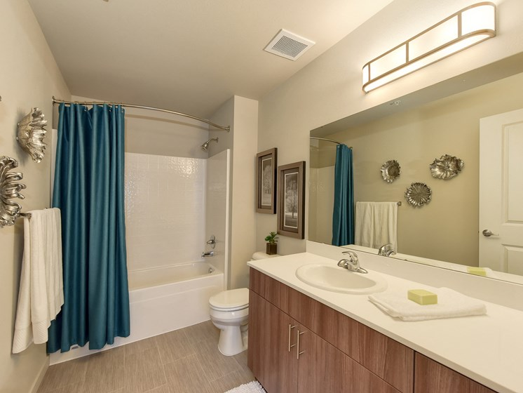 Master Bathroom with Vanity, Bath/Shower, Blue Curtains, Toilet, Wood Inspired Floor
