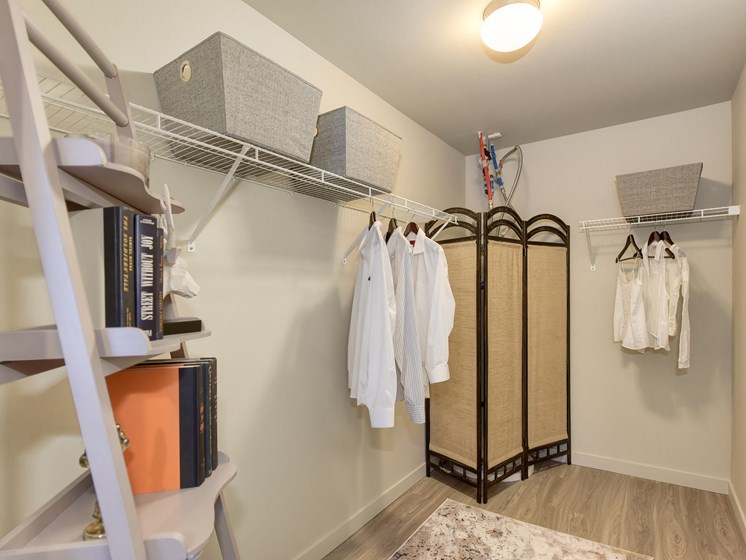 Master Bedroom Closet with Shelves, Hanging White T-Shirts, Book Case, Clothes Changing Folding Screen