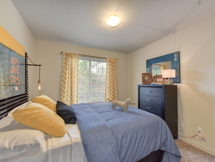 Master Bedroom with Kings Sized Mattress with Blue Comforter, Woven Dog, Black Dresser, Carpet and