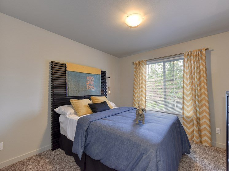 Spare Bedroom with Blue Comforter on Mattress, Open Window, Yellow Blinds, Carpet, Woven Dog,