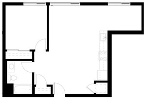 One Bedroom Floorplan at Abaca, San Francisco, 94107