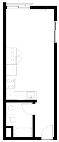 Studio Floorplan at Abaca, 94107