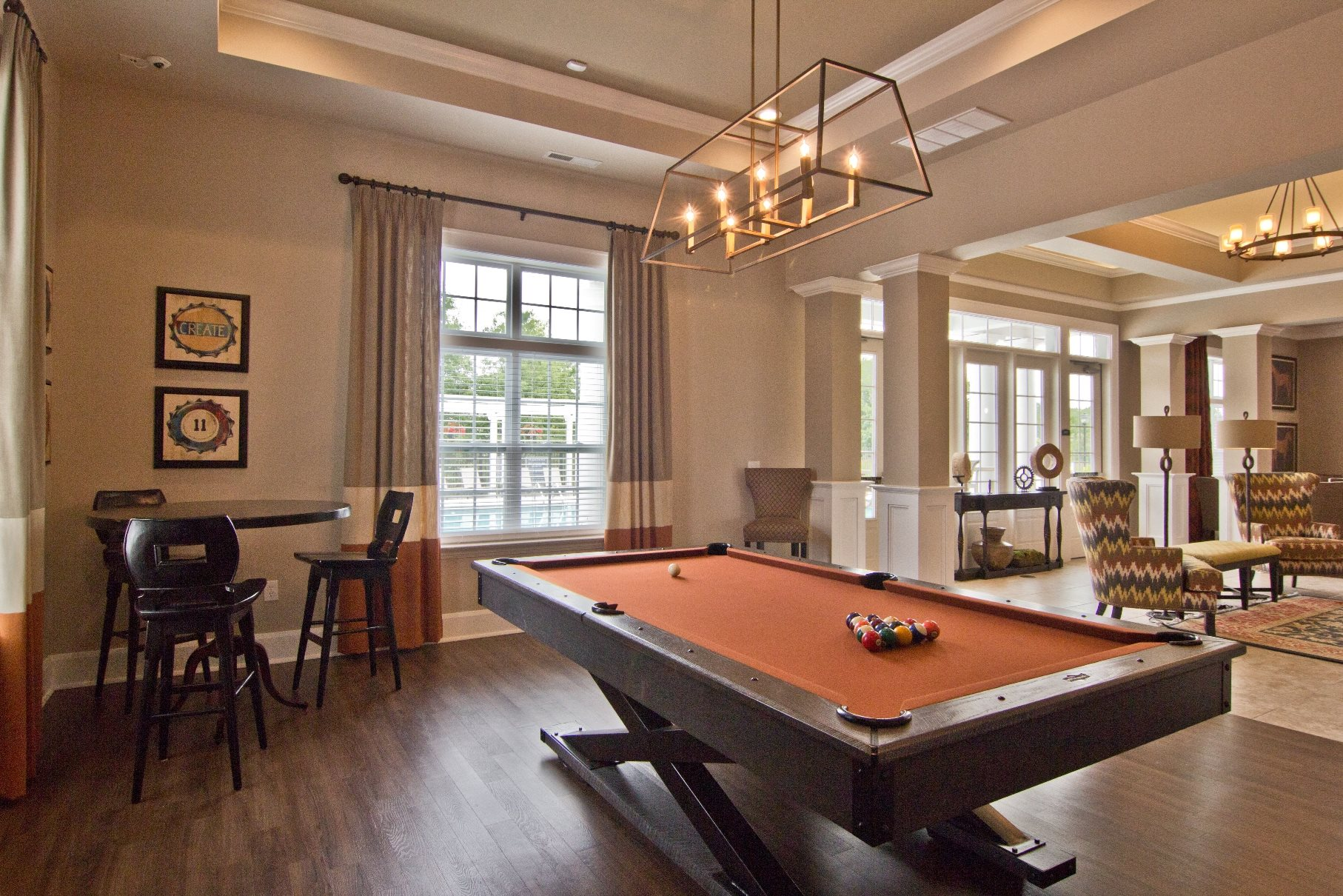 Billiards pool room in clubhouse