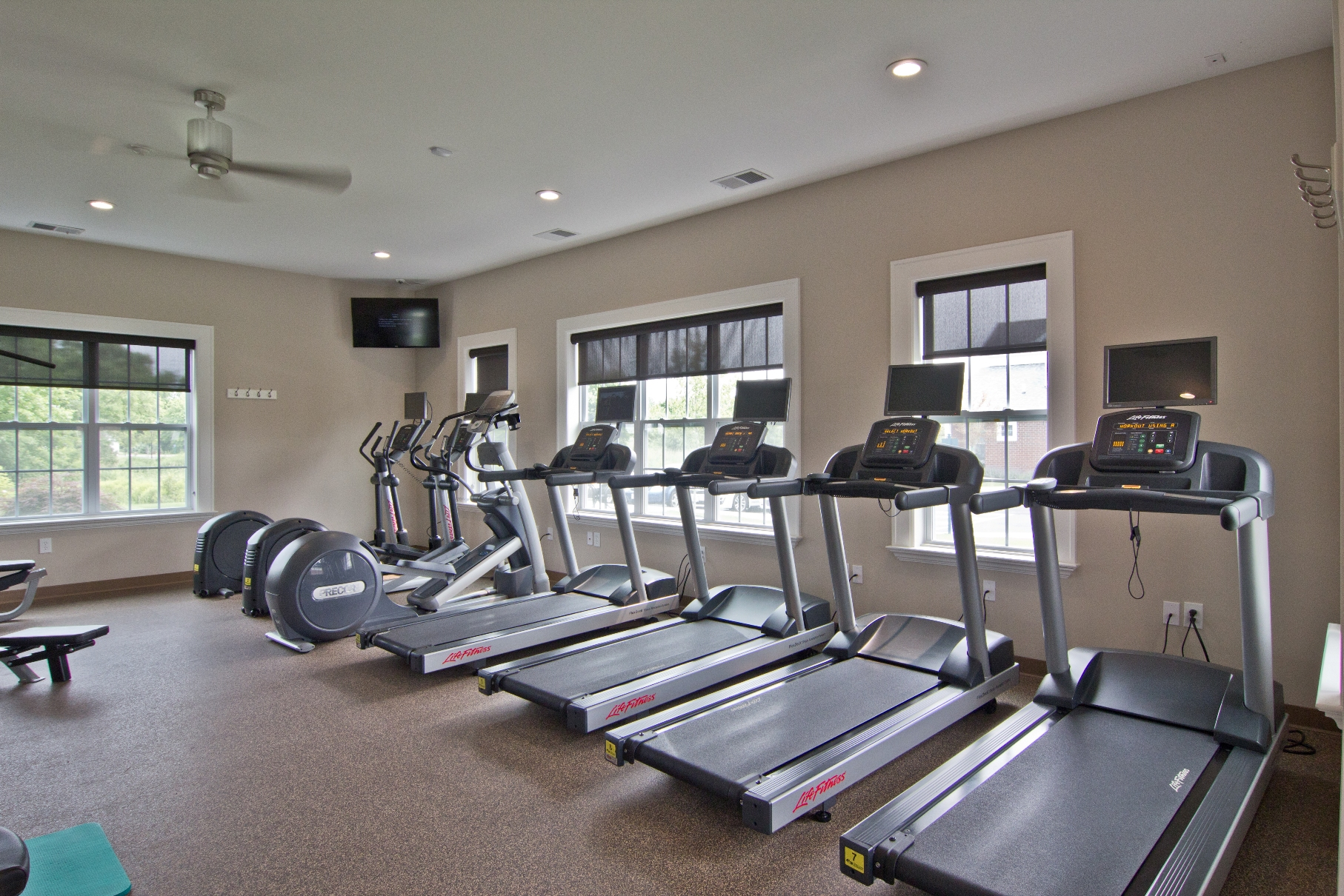 Treadmills inside fitness gym