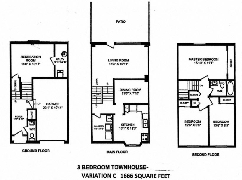 Three bedroom, one bathroom apartment layout at Creekside Townhomes in Oshawa, ON