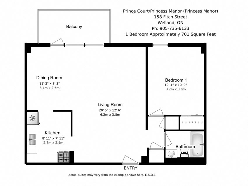 One bedroom, one bathroom apartment layout at Prince Court/Princess Manor in Welland, ON