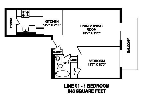 Floor plan of 1 bed, 1 bath, contemporary bachelor apartment at Regency Tower in Owen Sound, ON