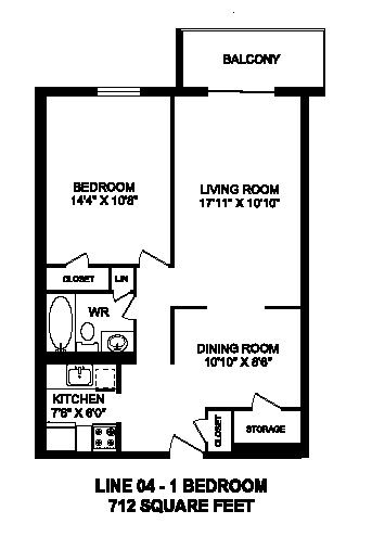 Floor plan of 1 bed, 1 bath, high quality, upscale apartment at Regency Tower in Owen Sound, ON