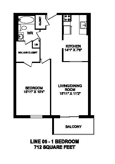 Floor plan of 1 bed, 1 bath, spacious, customizable apartment at Regency Tower in Owen Sound, ON