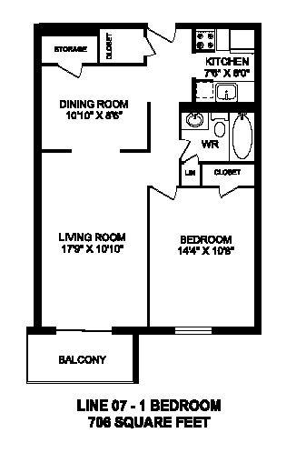 Floor plan of 1 bed, 1 bath, bachelor, spacious modern suite at Regency Towers in Owen Sound, ON