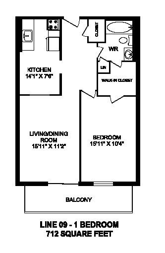 Floor plan of 1 bed, 1 bath, modern apartment with balcony at Regency Towers in Owen Sound, ON