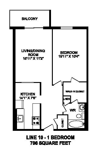 Floor plan of 1 bed, 1 bath, bachelor apartment with balcony at Regency Towers in Owen Sound, ON