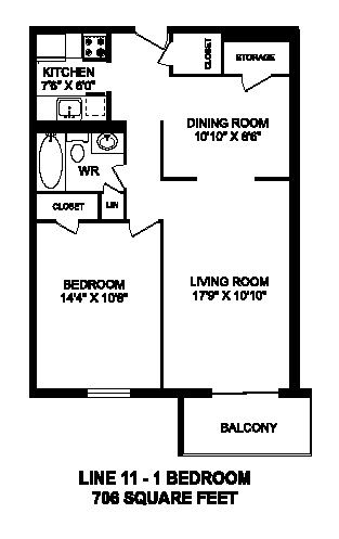 Floor plan of 1 bed, 1 bath, modern suite with balcony access at Regency Towers in Owen Sound, ON