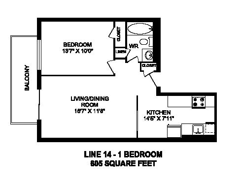 Floor plan of 1 bed, 1 bath, contemporary apartment with city sights at Regency Towers in Owen Sound, ON
