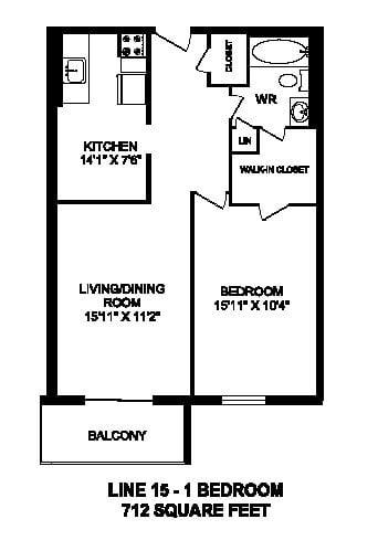 Floor plan of 1 bed, 1 bath, spacious, luxury apartment at Regency Towers in Owen Sound, ON