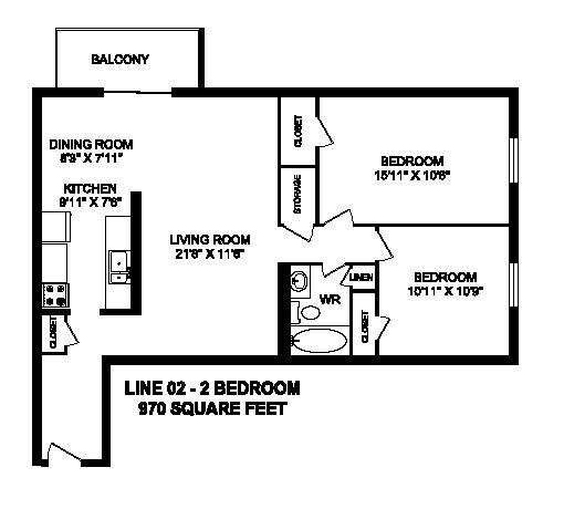 Floor plan of 2 bed, 1 bath, modern design with view at Regency Towers in Owen Sound, ON