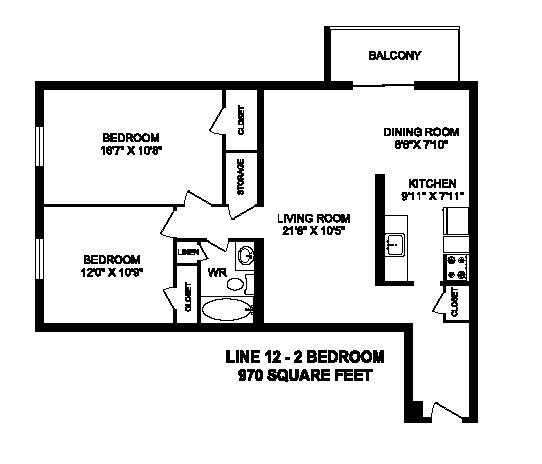 Floor plan of 2 bed, 1 bath, generous apartment with balcony at Regency Towers in Owen Sound, ON