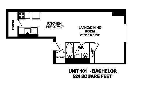 Floor plan of studio, 1 bath, open concept suite at Regency Tower in Owen Sound, ON