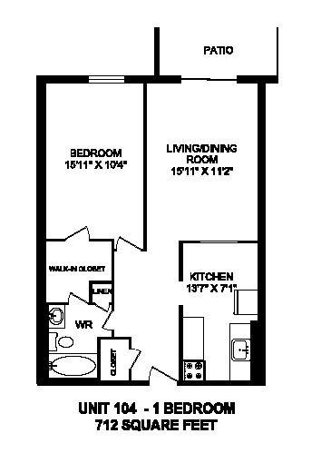 Floor plan of 1 bed, 1 bath, generous modern apartment at Regency Towers in Owen Sound, ON