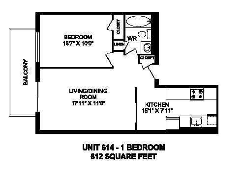 Floor plan of 1 bed, 1 bath, spacious, customizable apartment at Regency Towers in Owen Sound, ON