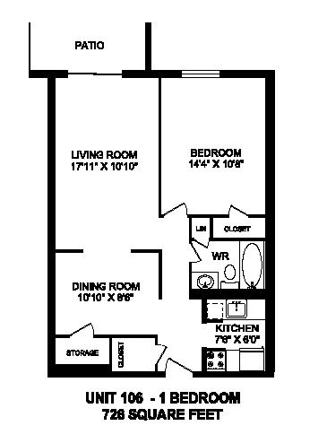 Floor plan of 1 bed, 1 bath, luxurious bachelor apartment at Regency Towers in Owen Sound, ON